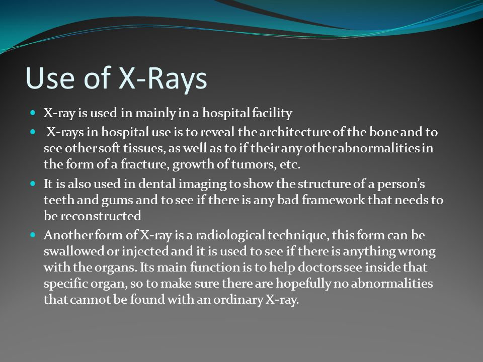 Medical uses of regular x rays