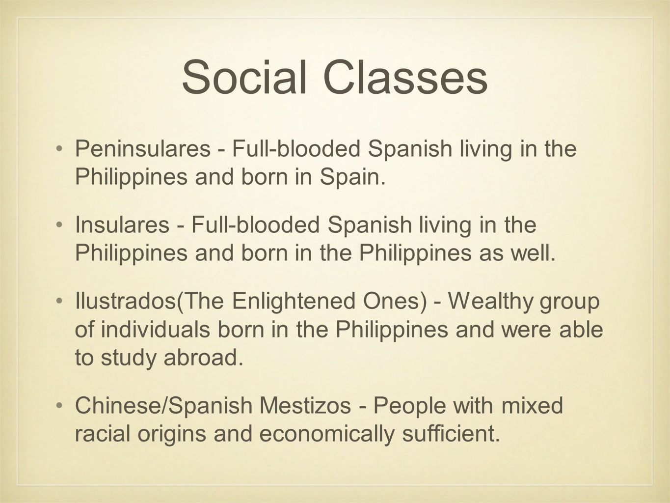social stratification in the philippines The three social classes of the ancient philippines society were maginoo, timawa and alipin these classes followed the social model of upper class, middle class and lower class the maginoo was inclusive of several different types of people, including maharlika, datu and panginoon these were .