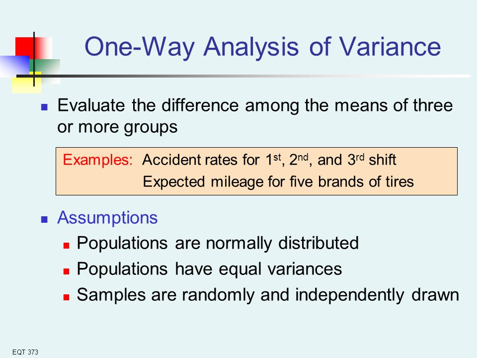 one way analysis of variance Unlike the f test to reject a null hypothesis of equal variances, the critical f value for an anova in a one-way test is for at least one level mean being statistically different from at least one other level mean.