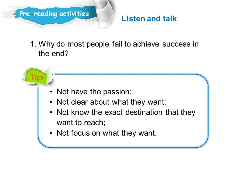 1. Why do most people fail to achieve success in the end