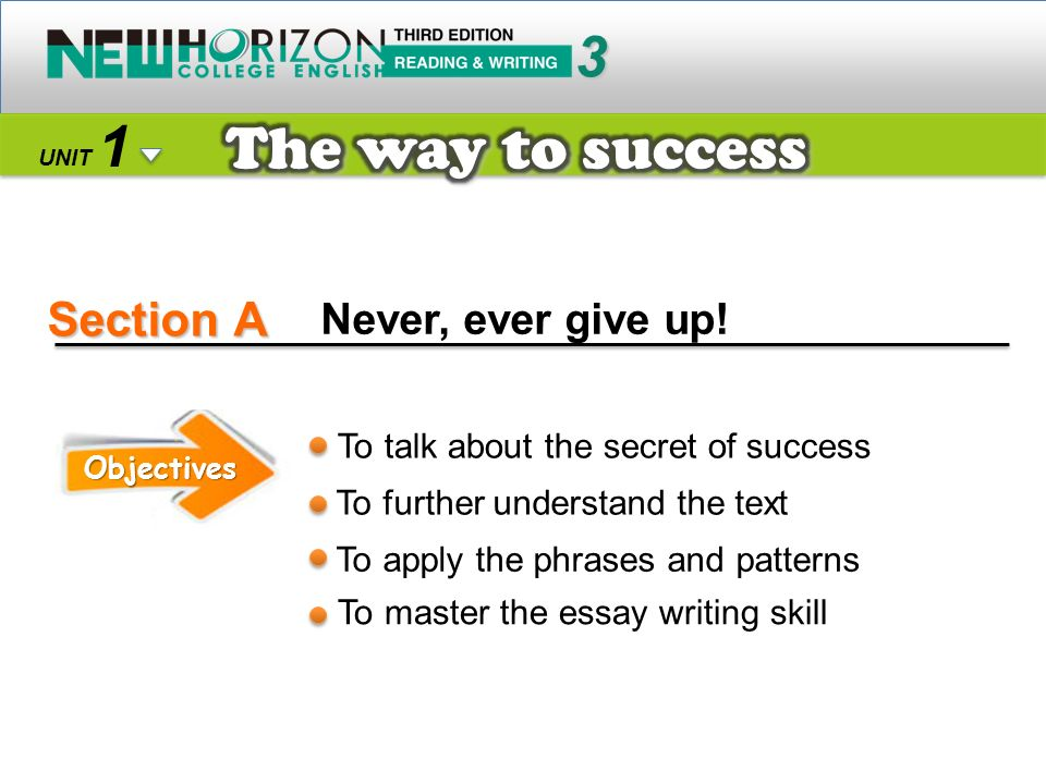 Section A The way to success 3 1 Never, ever give up!