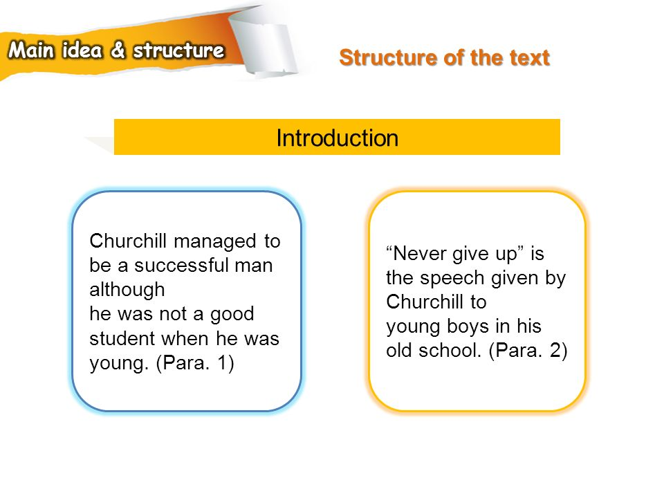 Introduction Structure of the text Main idea & structure