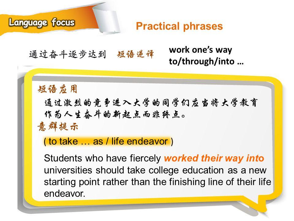 Practical phrases 短语应用 意群提示 work one's way to/through/into … 通过奋斗逐步达到