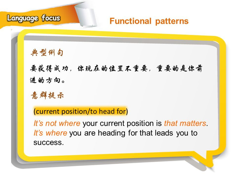 Functional patterns 典型例句 意群提示 要获得成功,你现在的位置不重要,重要的是你前进的方向。