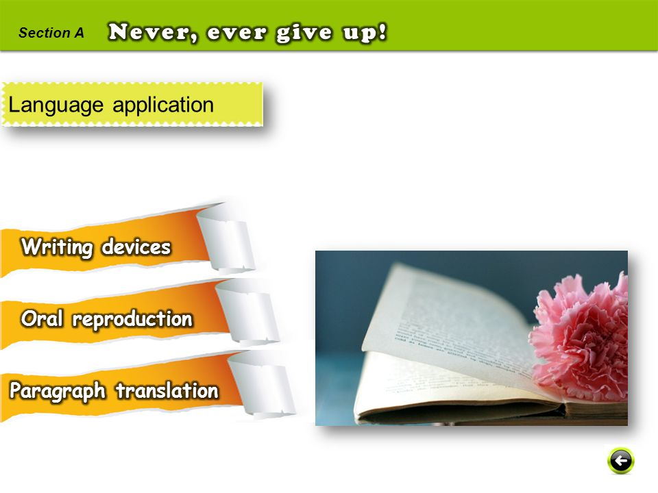 Never, ever give up! Language application Writing devices