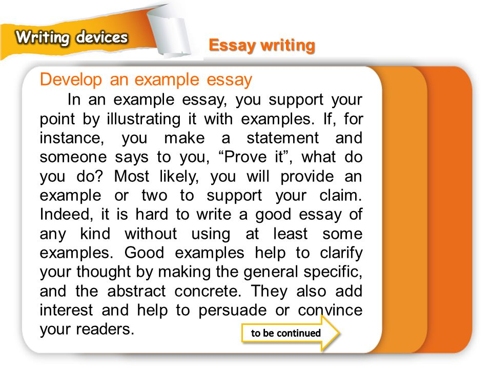 Develop an example essay