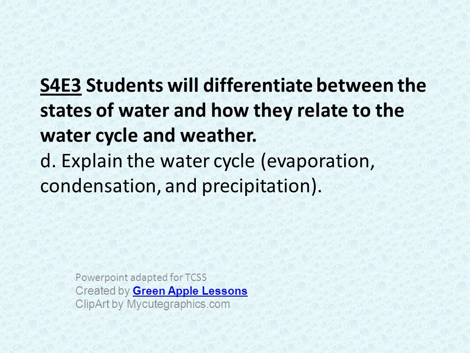 S4E3 Students will differentiate between the states of water and how they relate to the water cycle and weather. d. Explain the water cycle (evaporation, condensation, and precipitation).