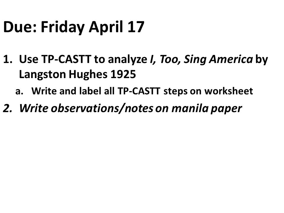 analysis of i too sing america I, too, sing america - online text : summary, overview, explanation, meaning, description, purpose, bio.
