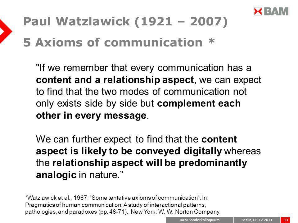 Paul Watzlawick (1921 – 2007) 5 Axioms of communication *