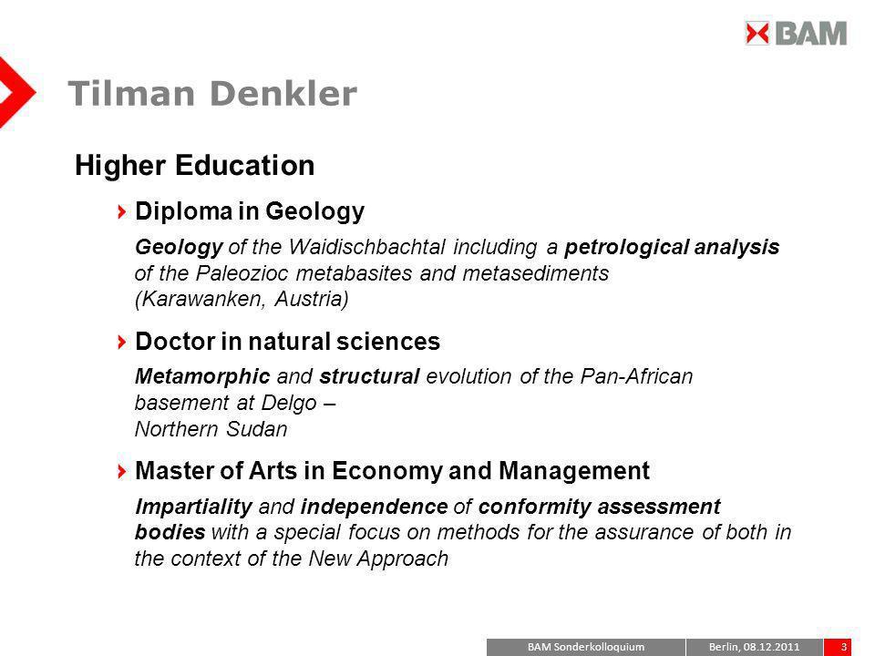 Tilman Denkler Higher Education Diploma in Geology