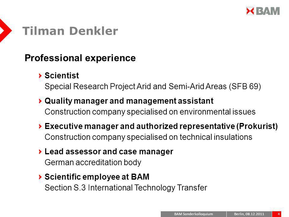 Tilman Denkler Professional experience Scientist