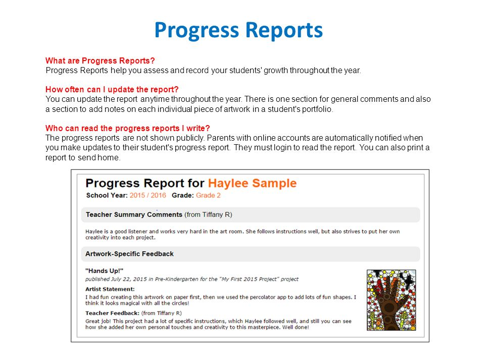 writing progress reports for students Progress report overview & student sample matthew evertson  report writing for business students - duration:  how to enter comments for report cards or progress reports - duration: 4:04.