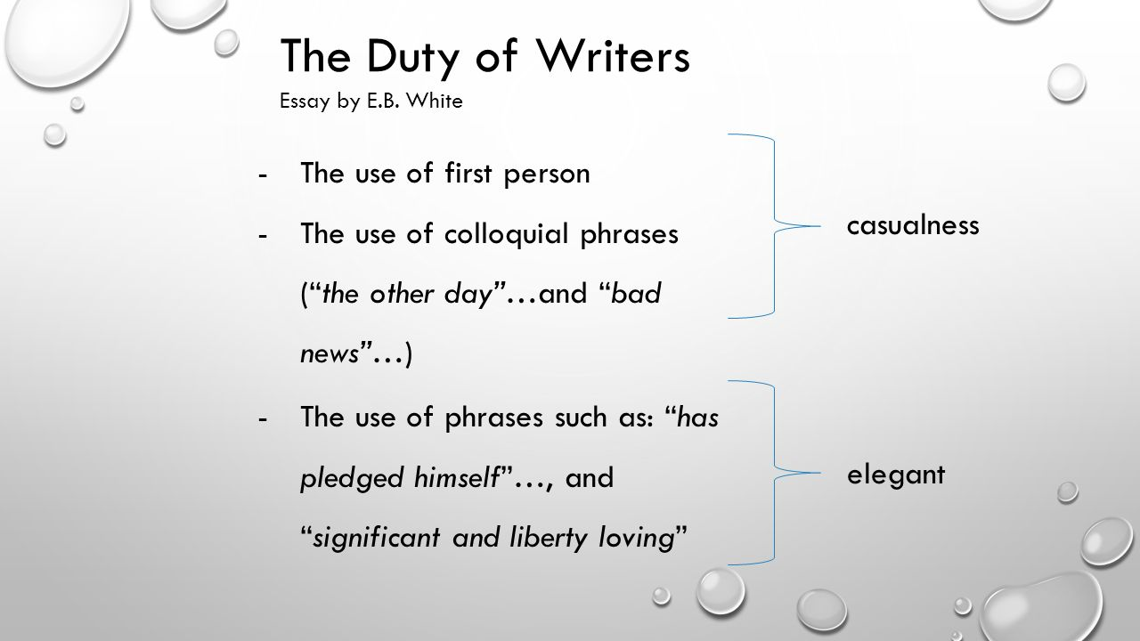 the duty of writers essay by e b white quick facts e b the duty of writers the use of first person