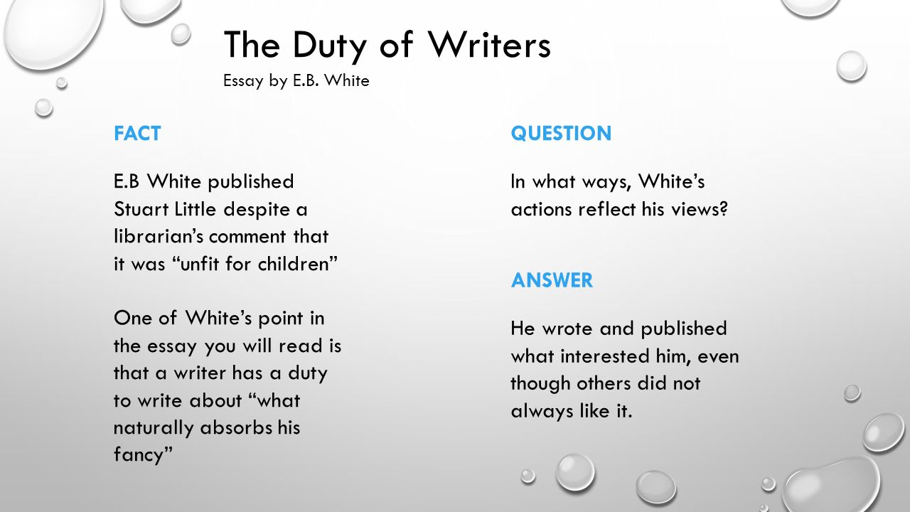 e. b. white essays E b white, the author of twenty books of prose and poetry, was awarded the   one and resulted in a steady output of satirical sketches, poems, essays, and.