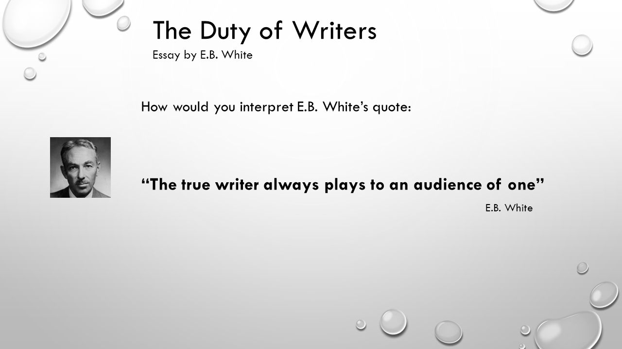 the essayist and the essay e.b. white