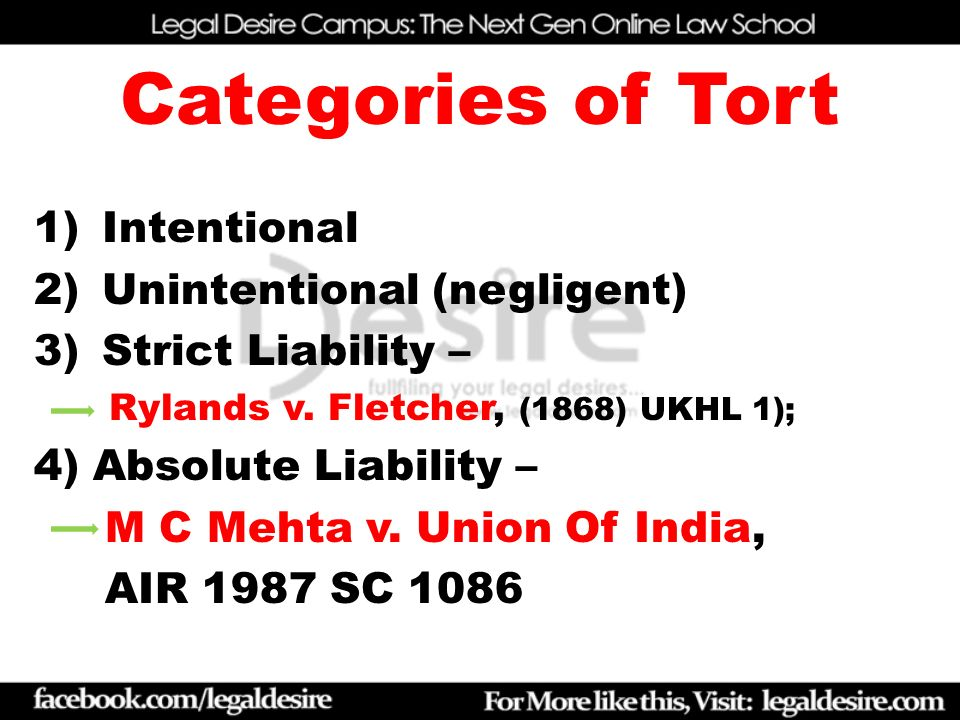 absolute liability in torts in india Law of torts absolute liability mc mehta rylands v fletcher strict liability 1 comment law of false imprisonment in india on april 4, 2015 april 29, 2015 by raghavi.