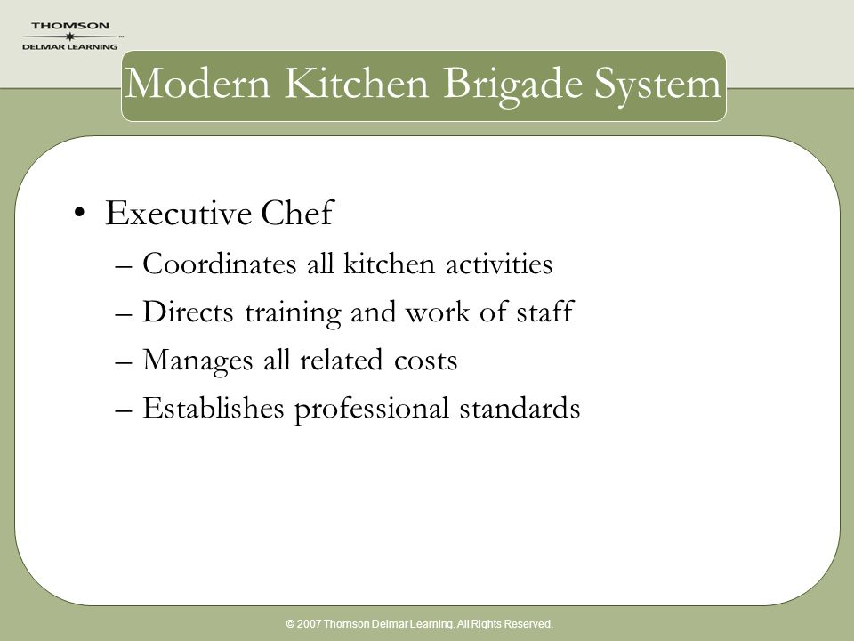 brigade executive chef essay Executive chef an executive chef is a managerial role that involves a lot of work behind the scenes in the hospitality industry.