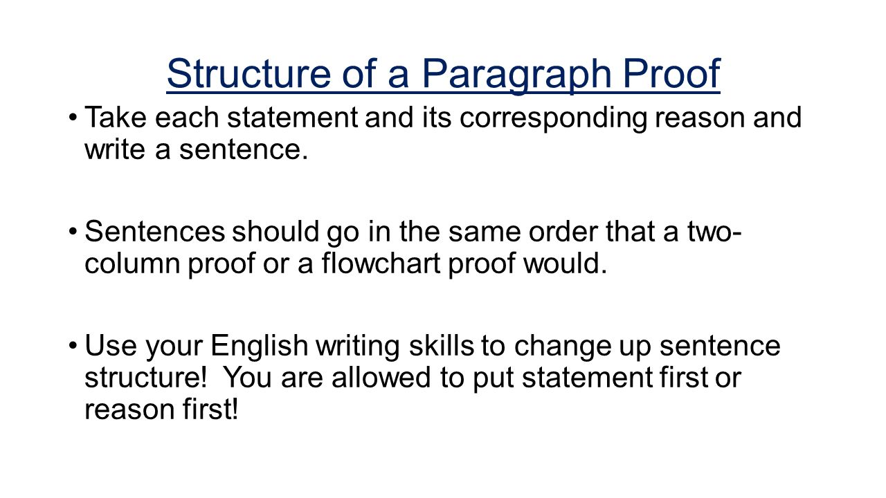 Example of two-column proof vs. paragraph proof