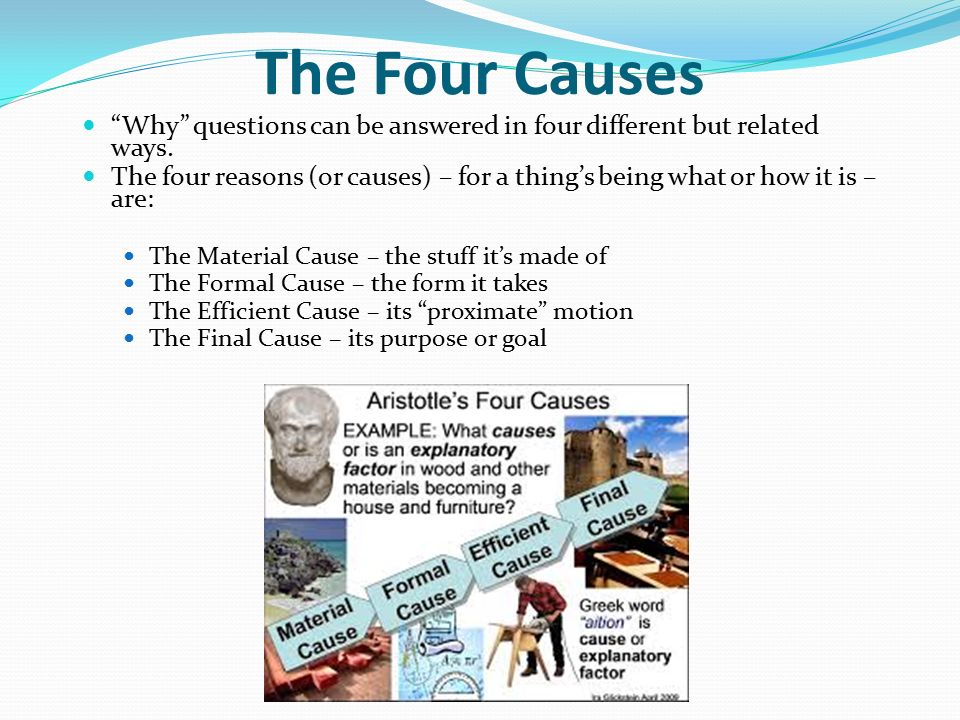the four causes of aristotle a Now the important thing to remember about aristotle's doctrine of the four causes, the four ways of explaining the changes by which something came to be the way it.