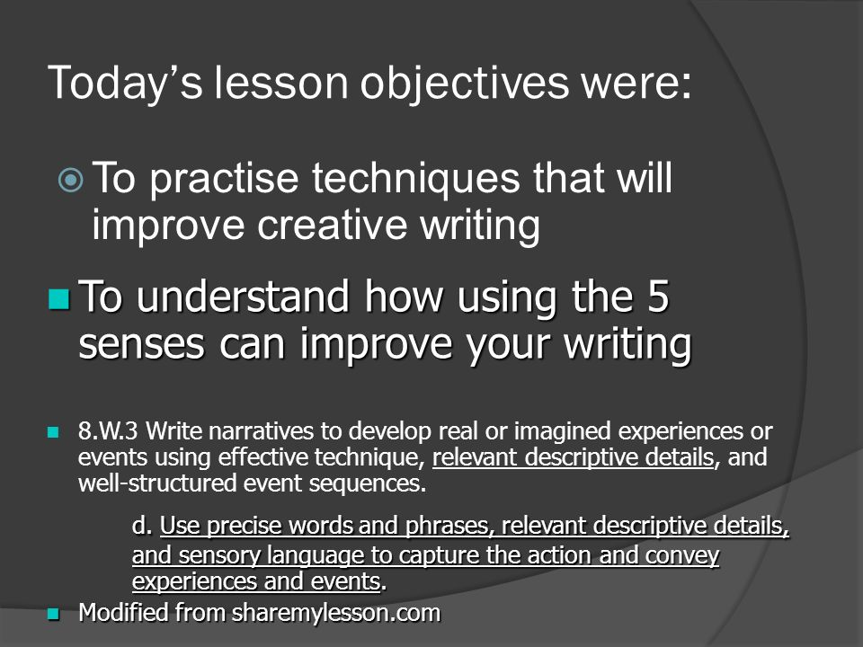 how to write a creative writing ppt