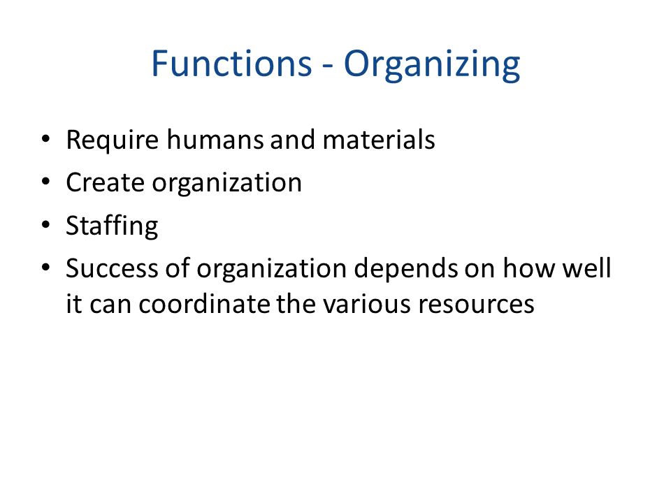 Functions - Organizing