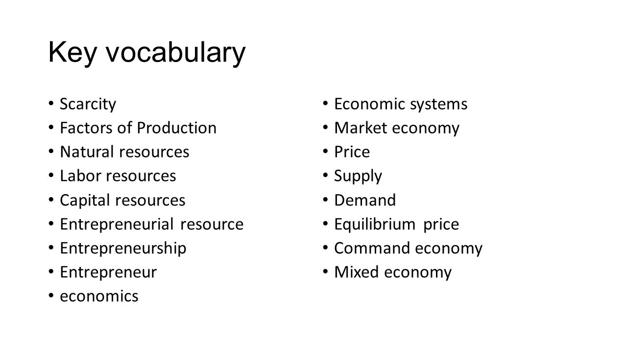 worksheet Scarcity And The Factors Of Production Worksheet Answers unit 1 the economy and you ppt video online download key vocabulary scarcity factors of production natural resources