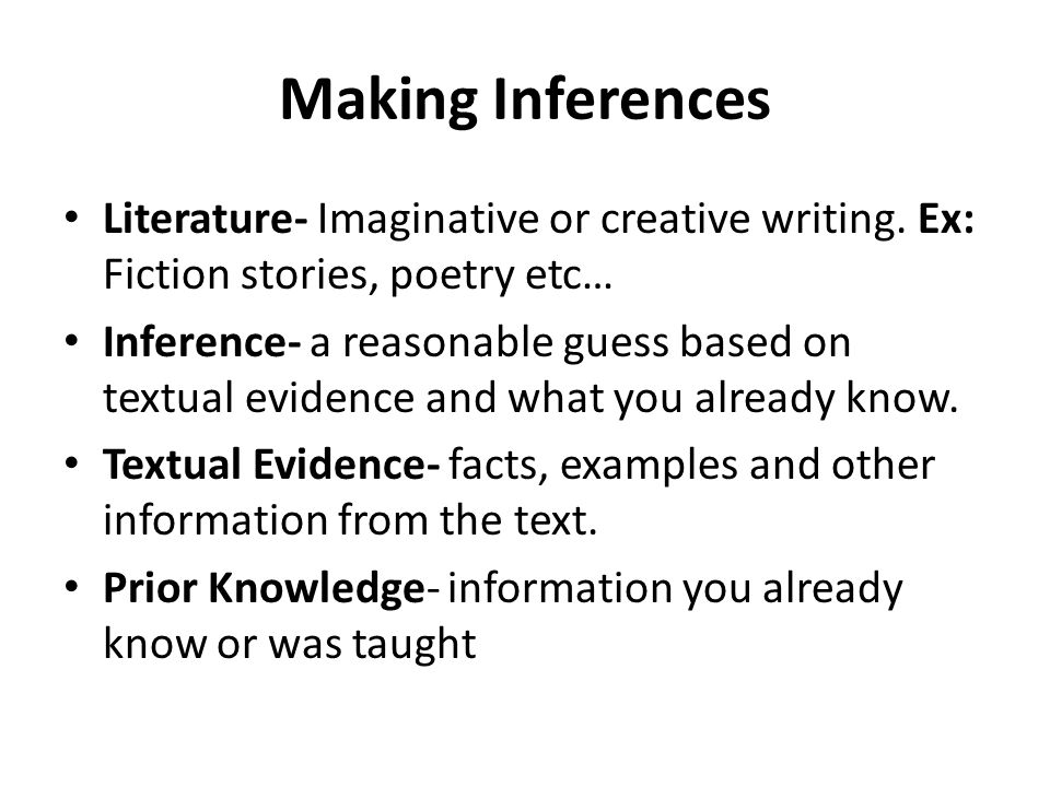 Mystery Inference examples in Literature