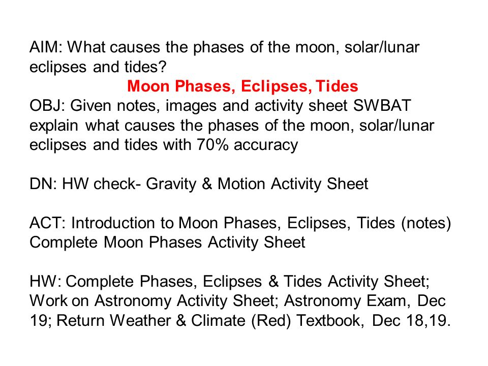 Aim What Causes The Phases Of The Moon Solarlunar Eclipses And