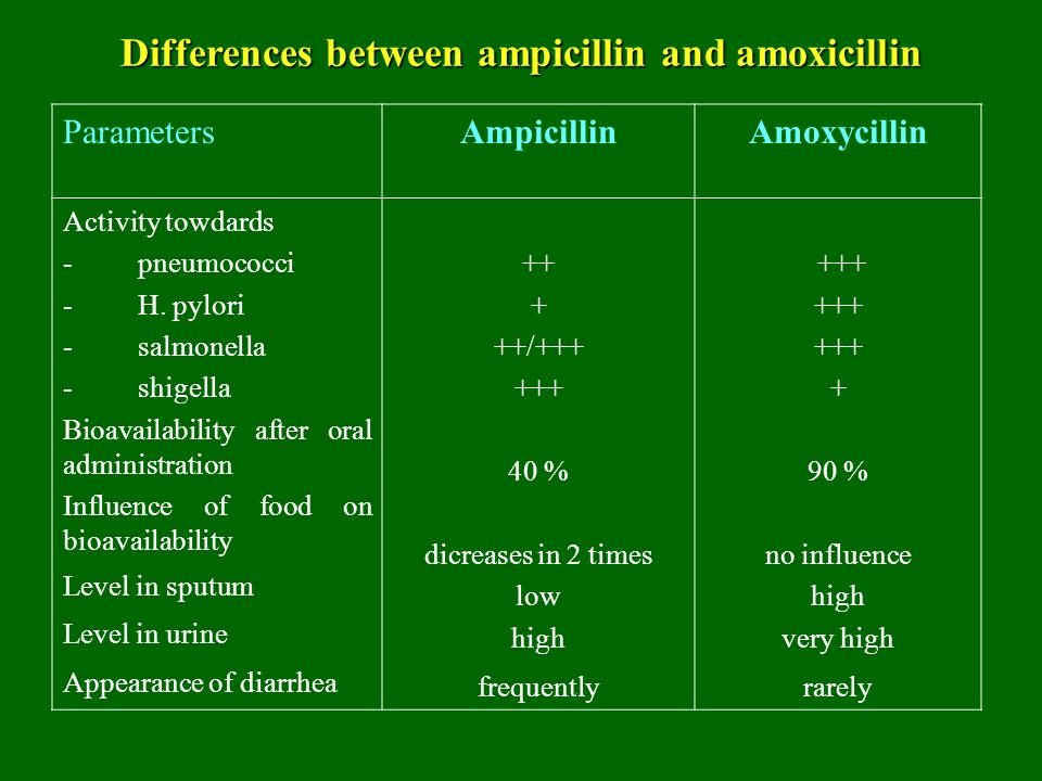 Ampicillin and amoxicillin