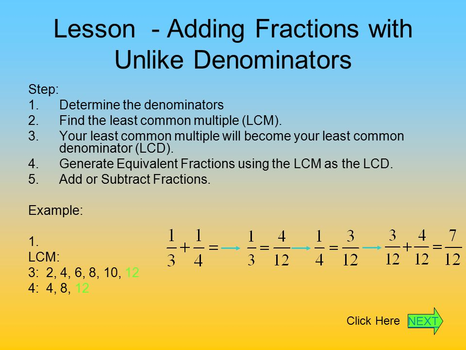 Adding And Subtracting Fractions With Unlike Denominators Adding and Subtracting...