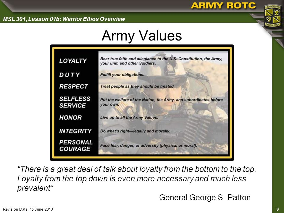 an overview of the 7 us army values The point i am making is that the seven army values of loyalty, duty, respect, selfless service, honor, integrity, and personal courage all remain at the core of soldiering but change as a soldier progresses.