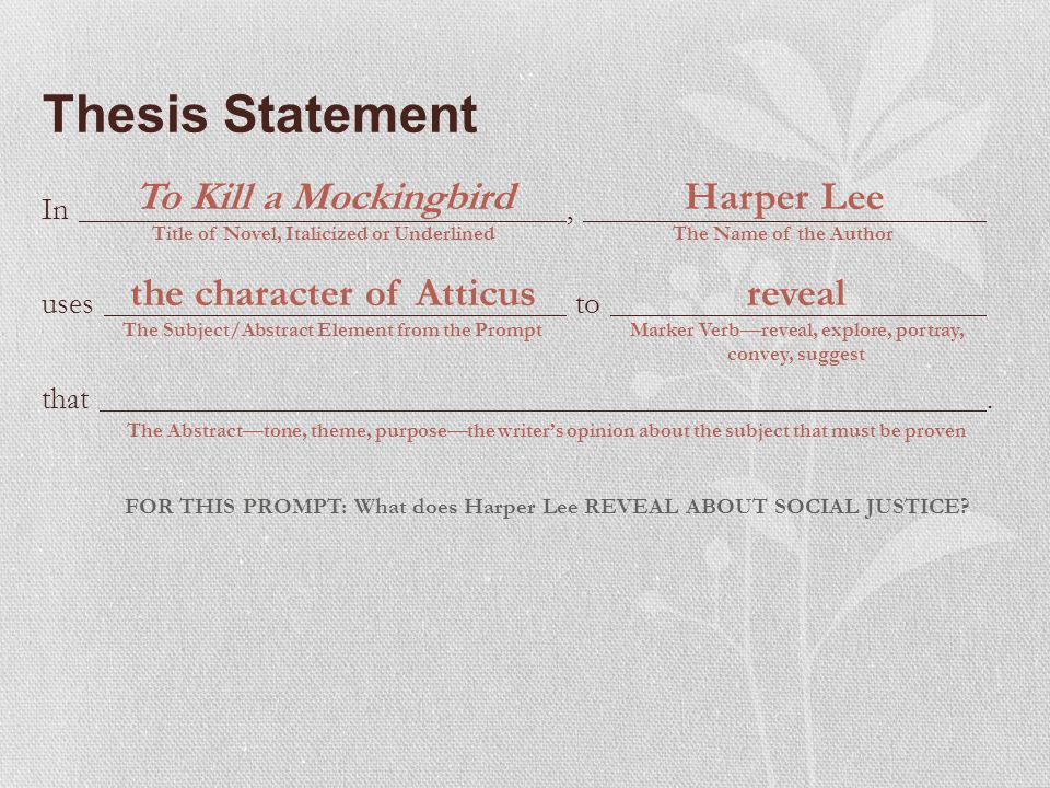 Harper kill lee mockingbird statement thesis