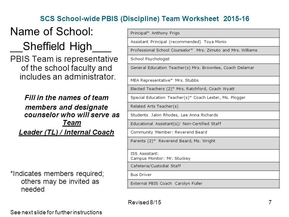 Sheffield High School Schoolwide PBIS Plan Discipline Plan – In School Suspension Worksheets