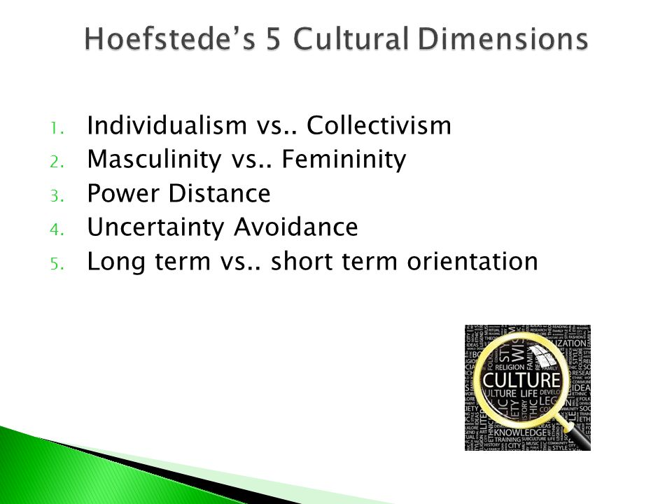 masculinity level Masculinity versus its opposite, femininity refers to the distribution of roles between the genders which is another fundamental issue for any society to which a range of solutions are.