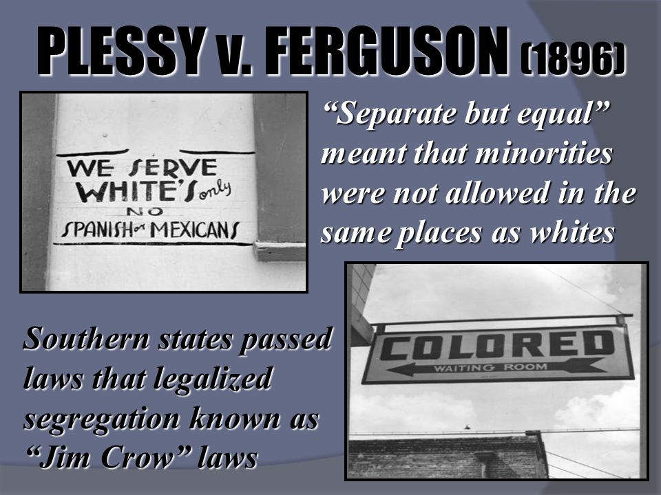 plessy vs ferguson summary essay Topeka kansas, supreme court, jim crow laws in our country's history, the supreme court has overridden its past decisions only ten times the most important of these overturned decisions are the rulings the supreme court made in the plessy vs ferguson case and the brown vs board of education of topeka kansas.
