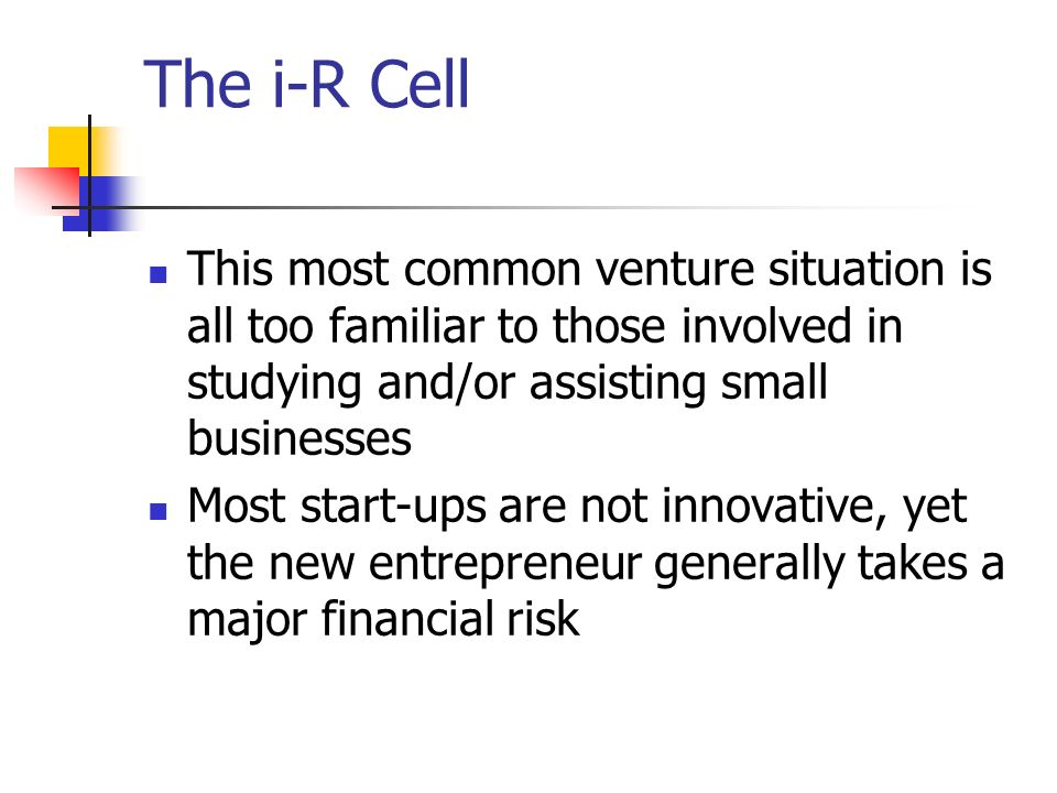 The i-R Cell This most common venture situation is all too familiar to those involved in studying and/or assisting small businesses.