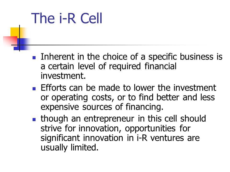 The i-R Cell Inherent in the choice of a specific business is a certain level of required financial investment.