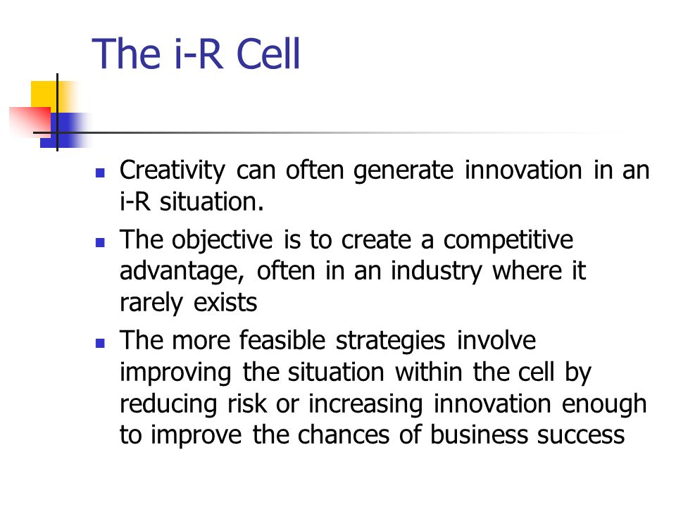 The i-R Cell Creativity can often generate innovation in an i-R situation.