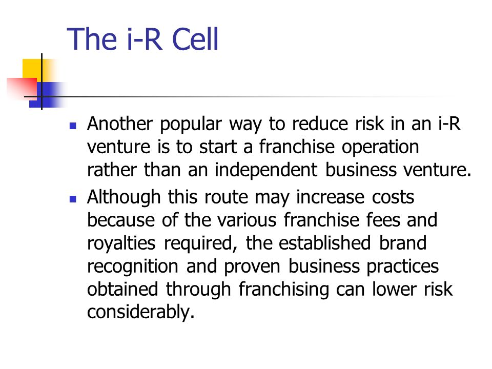 The i-R Cell Another popular way to reduce risk in an i-R venture is to start a franchise operation rather than an independent business venture.