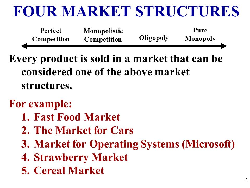 the four market structures Four market structuresthe focus of this lecture is the four market structures  students will learn the characteristics of pure competition, pure.