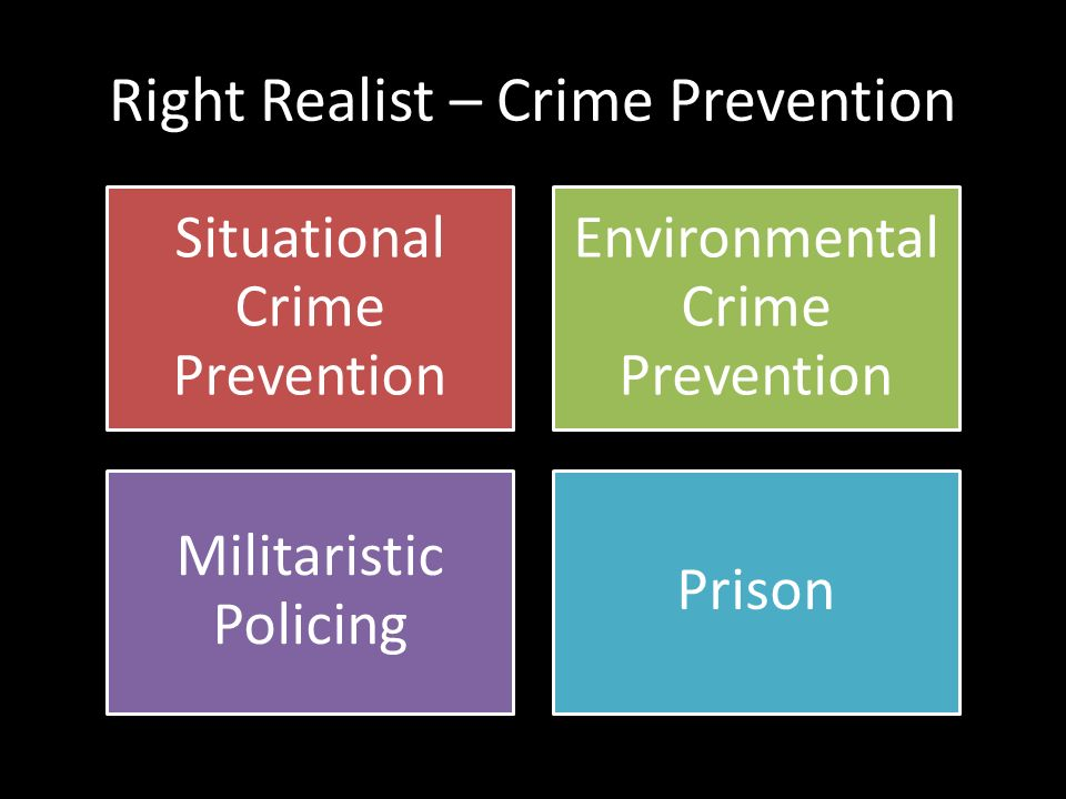 right realism and crime explanations Left realism, in criminology, emerged from critical criminology as a reaction against what was perceived to be the left's failure to take a practical interest in everyday crime, allowing right realism to monopolize the political agenda on law and order.