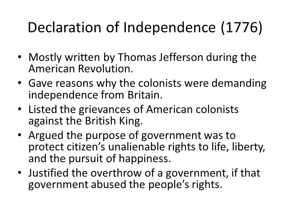 the three major purposes of the declaration of independence At the time, the declaration of independence was regarded as a collective effort of the continental congress jefferson was not recognized as its principal author until the 1790s jefferson's early career  jefferson was the only southerner on the committee, and had arrived in philadelphia accompanied by three of his many slaves.