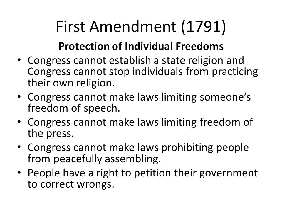 an analysis of first amendment in congress On september 25, 1789, the first congress of the united states proposed 12 amendments to the constitution the 1789 joint resolution of congress proposing the amendments is on display in the rotunda in the national archives museum.