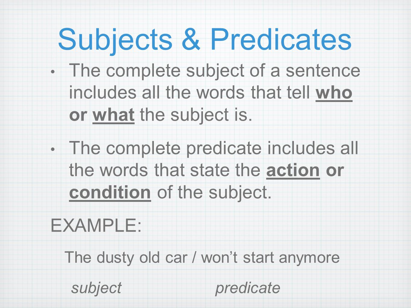 Writing a complete sentence ppt