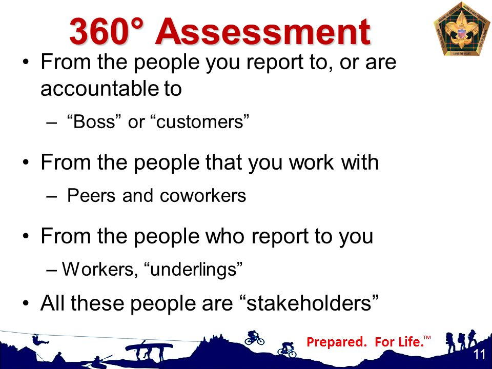360° Assessment From the people you report to, or are accountable to