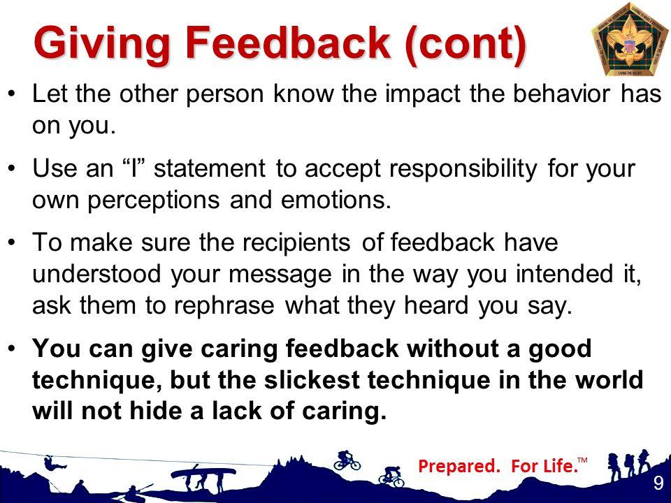 Giving Feedback (cont)