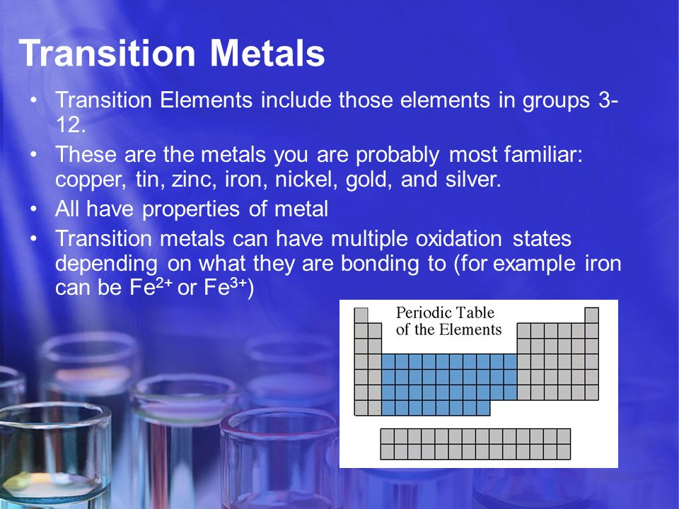 Periodic table of elements family properties ppt video online transition metals transition elements include those elements in groups 3 12 urtaz Gallery