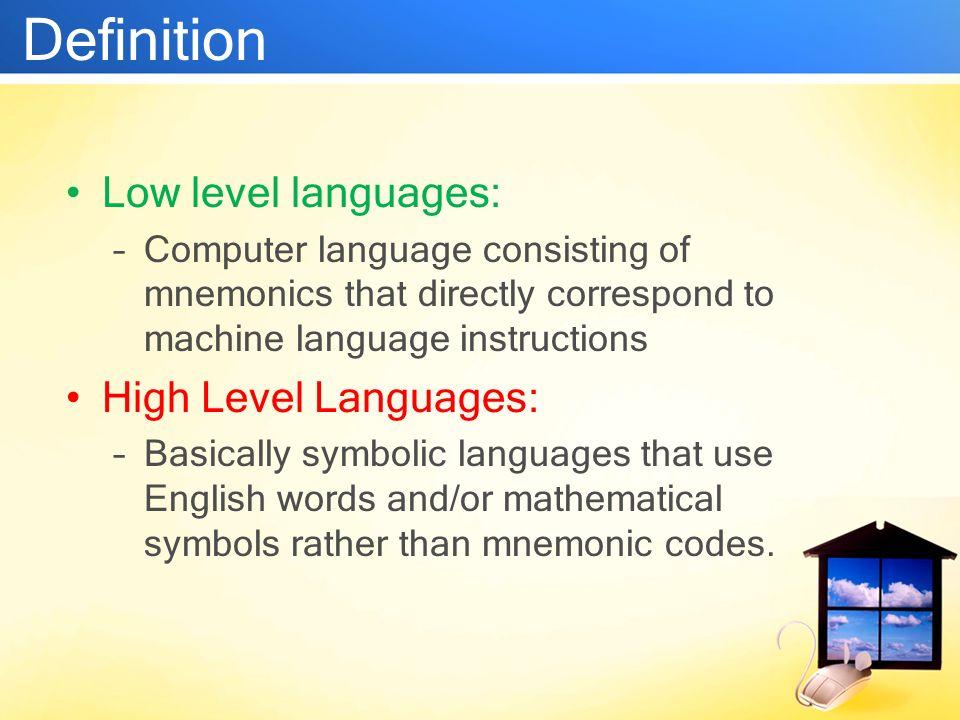 Low vs high level languages ppt download for Versus definition