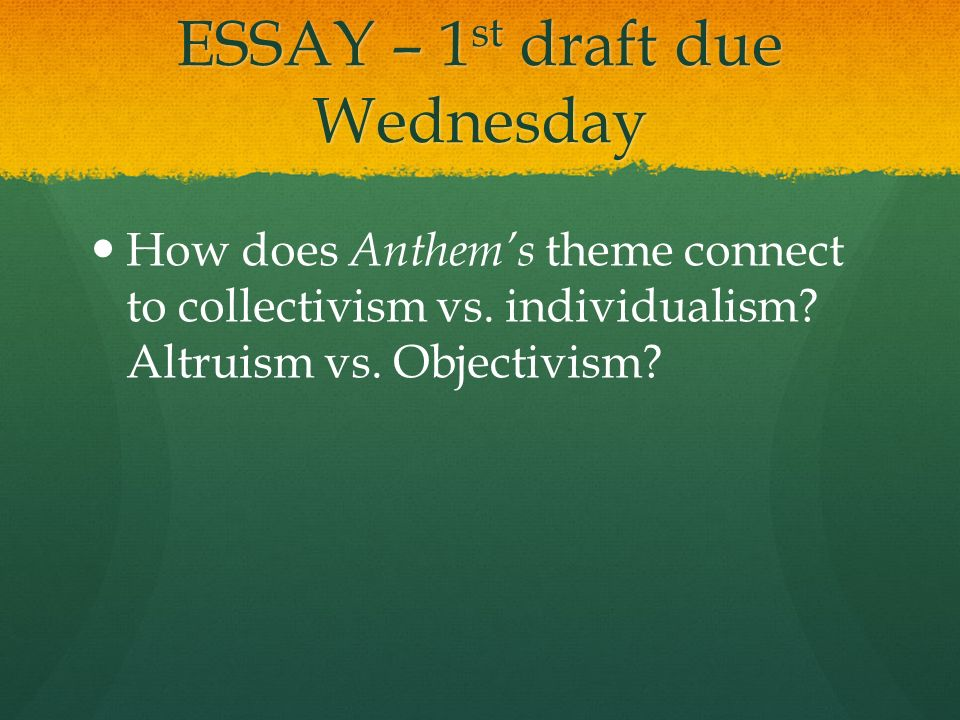 altruism essay Altruism essay prep there are many ways to have students prepare for an essay essay outlining is a more traditional way, but often results in students focusing on the content they will use, rather than the critical thinking and discussion which is essential in an ib essay.