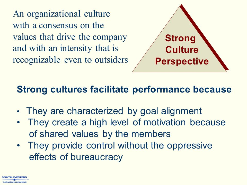 motivation and strong value culture When an organization has a strong culture, three things happen: employees know how top management wants them to respond to any situation, employees believe these programs are key mechanisms hr can use to motivate employees to act in accordance with the organization's culture and values.